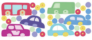 Wallies - stickers chambre bébé en voiture - Kinderklebdekor