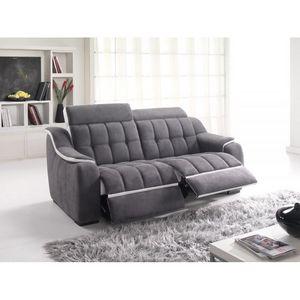 Bardi - canapé en tissu et cuir dam008 - Sofa 2 Sitzer