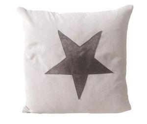 BYROOM - silver leather star - Kissen Quadratisch