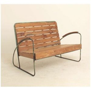 Mathi Design - banc vintage bois et metal - Bank