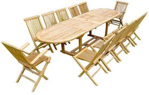jardindeco - salon en teck table ovale 10 chaises 2 fauteuils - Garten Esszimmer