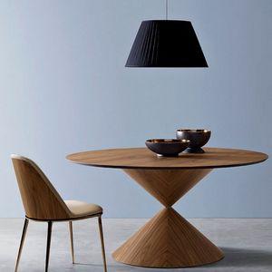 Midj - clessidra - table ø 150 cm noyer flammé - Runder Esstisch