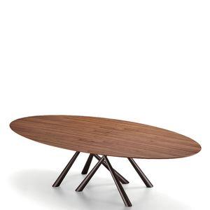 Midj - forest - table ovale en noyer flammé de 280 x 120 - Ovaler Esstisch