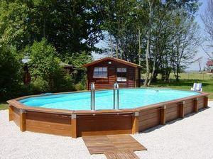 CARON PISCINES - hors-sol grand modèle - Pool Mit Holzumrandung