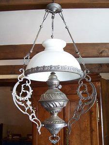 Le Grenier de Matignon - suspension opaline a petrole debut du xxe siecle - Deckenlampe Hängelampe