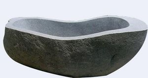 MEMOIRE DES ORIGINES - baignoire pierre brute - Freistehende Badewanne