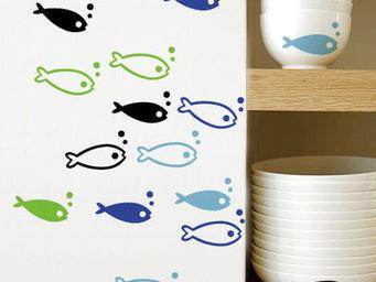 UsiRama.com - sticker décoration adhsif happy-fish lot de 4 - Kinderklebdekor