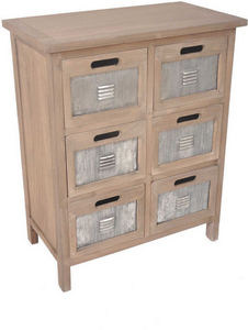 Aubry-Gaspard - commode industrielle 6 tiroirs en pin et métal 60x - Schubladenmöbel