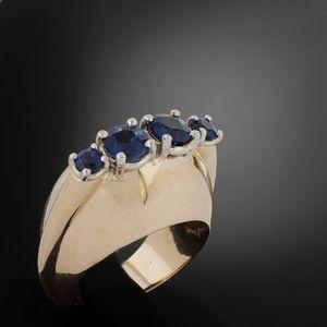 Expertissim - bague or rose et saphirs - Ring