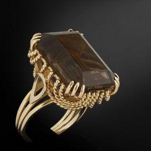 Expertissim - bague en or jaune sertie d'un quartz fumé - Ring