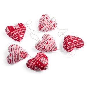 Maisons du monde - guirlande 6 coeurs tricot rouge - Girlande
