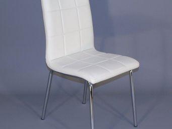 CLEAR SEAT - chaises simili cuir blanc matelassé batz lot de 6 - Restaurant Stühle