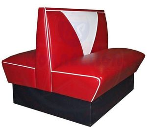 US Connection - banquette double - vintage rouge - Restaurantbank