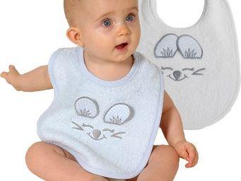 SIRETEX - SENSEI - bavoir bébé en forme de souris ciel - Lätzchen