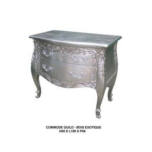 DECO PRIVE - commode argentee e bois modele guild 2 tiroirs - Zierliche Kommode