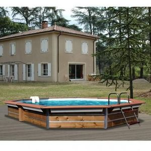 Christaline - piscine evolux bois semi enterre ou enterre 580x42 - Pool Mit Holzumrandung