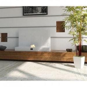 WHITE LABEL - chemine thanol deco design blanc laque - Kamin Ohne Rauchabzug