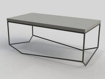 MALHERBE EDITION - table béton la bancale rectangulaire - Rechteckiger Couchtisch