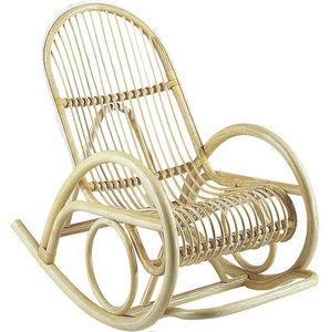 Aubry-Gaspard - fauteuil en manau écorcé verni rocking 60x108x92cm - Schaukelstuhl