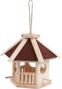 Aubry-Gaspard - mangeoire hexagonale en pin naturel avec toit en s - Vogelfutterkrippe