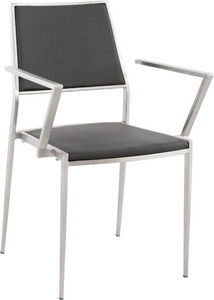KOKOON DESIGN - fauteuil zigzag en inox et simili-cuir noir 42.5x4 - Stuhl Mit Armlehne