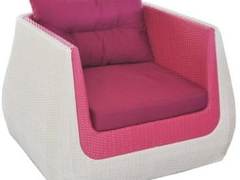 PROLOISIRS - fauteuil ice cream en résine tressée vanille frais - Terrassensessel