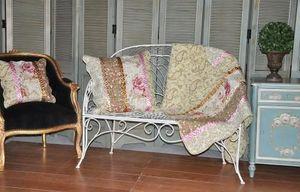 Demeure et Jardin - jeté de canapé imprimé fleurs avec ruban - Bettüberwurf