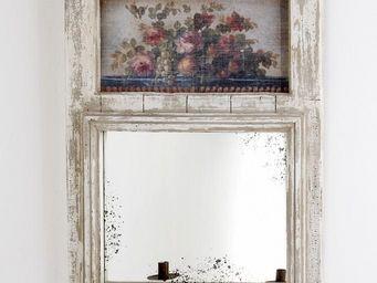 PROVENCE ET FILS - trumeau gustavia / motif floral / avec 2 bougeoirs - Trumeauspiegel