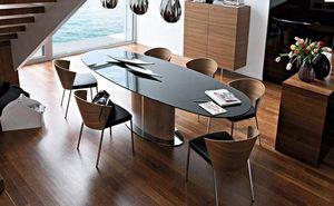 Calligaris - table repas ovale extensible odyssey 165x105 noire - Ovaler Esstisch