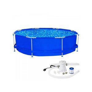 WHITE LABEL - piscine avec bâti et pompe 4565 litres - Pool Mit Stahlohrkasten