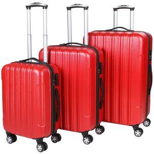 WHITE LABEL - lot de 3 valises bagage rigide rouge - Rollenkoffer
