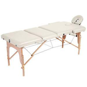 WHITE LABEL - table de massage pliante 3 zones crème - Massagetisch