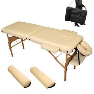 WHITE LABEL - table de massage 7,5 cm épaisseur crème - Massagetisch