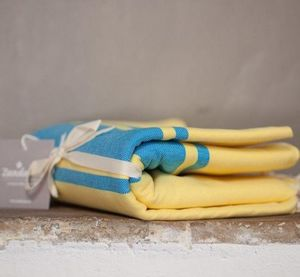 Zandaraa - fouta plate jaune et turquoise - Hamam Handtuch