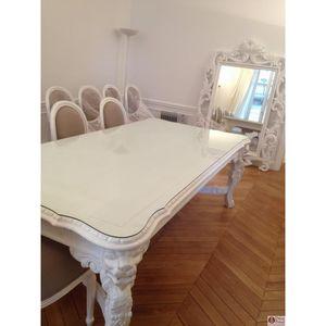 DECO PRIVE - table de salle à manger en bois blanc modèle lion - Rechteckiger Esstisch