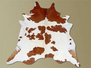 WHITE LABEL - tapis de peau de vache blanc marron naturel - Kuhfell