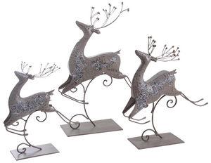 Aubry-Gaspard - renne en métal laqué bronze (lot de 3) - Kleine Statue