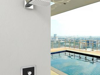 INOXSTYLE - miscelatore carbon a muro leva e placca inox mod. - Wand Mischbatterie