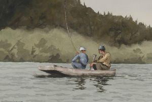 A BIRD IN HAND ANTIQUES - two boys in a boat - Ölgemelde Auf Leinwand Und Holztafel