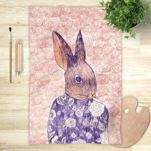 la Magie dans l'Image - foulard mon petit lapin fond rose - Vierecktuch
