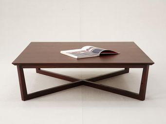 WHITE LABEL - table basse carrée varadero - gris - Rechteckiger Couchtisch