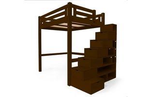 ABC MEUBLES - abc meubles - lit mezzanine alpage bois + escalier cube hauteur réglable wengé 160x200 - Andere Verschiedene Schlafzimmermöbel