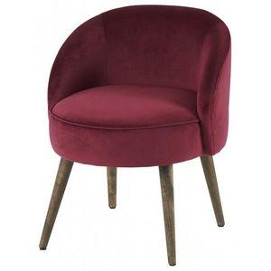 DECO PRIVE - fauteuil crapaud en velours rouge capitonné - Crapaud Sessel