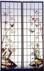 L'Antiquaire du Vitrail - iris et oiseaux - Buntglasfenster