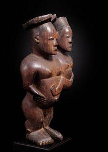 Lisa & Philippe Laeremans - rare couple, mangbetu - Kleine Statue