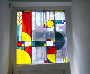 ATELIER VERSICOLORE - MAJERUS PIERRE - vitrail à joints de plomb en imposte - Buntglasfenster