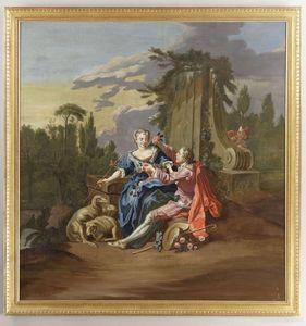 Galerie Atena - scène galante - Ölgemelde Auf Leinwand Und Holztafel