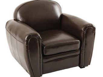 Miliboo - fauteuil club enfant en cuir marron baby club - Kindersessel