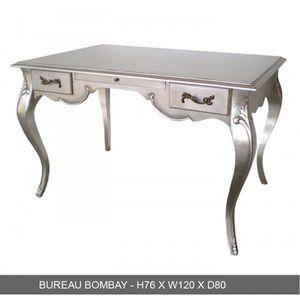 DECO PRIVE - bureau baroque en bois argente grand modele bombay - Schreibtisch