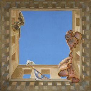 Fabienne Colin - carré bleu - Trompe L'oeil Malerei